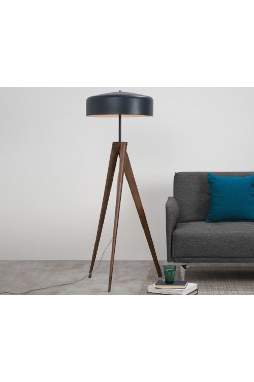 Made Navy Blue Dark Wood Floor Lamp In 2020 Wood Floor Lamp