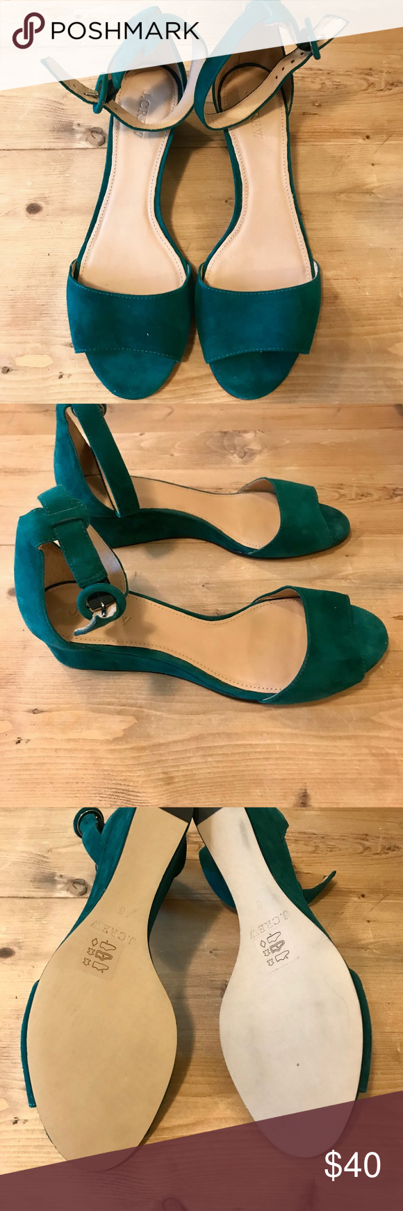 b309c2e78c26 J.Crew Laila Wedges in Dark Green Suede Like new  Excellent condition.  Comes with original box. J. Crew Shoes Wedges