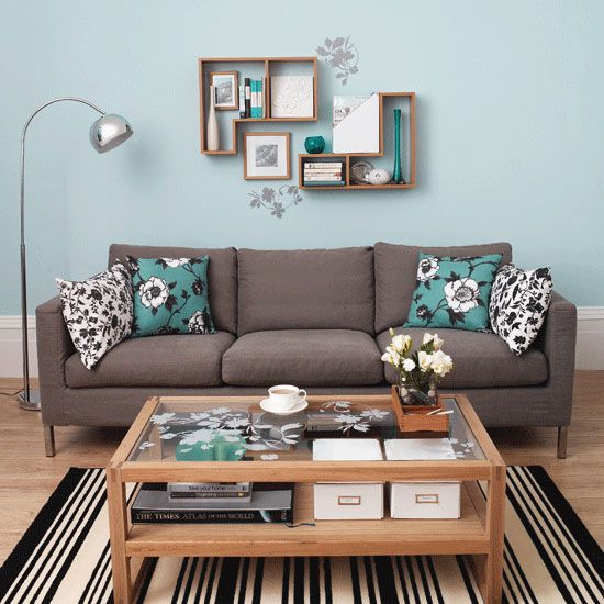 Living Room Ideas Turquoise Minimalist 45 Beautiful Wall Decals Ideas  Blue Living Rooms Modern .