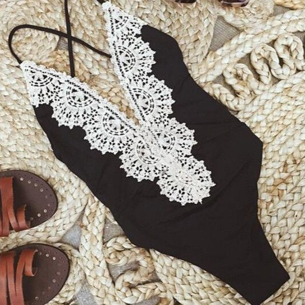 Crochet Lace One Piece Swimsuit Strappy High Waist Swimwear Women