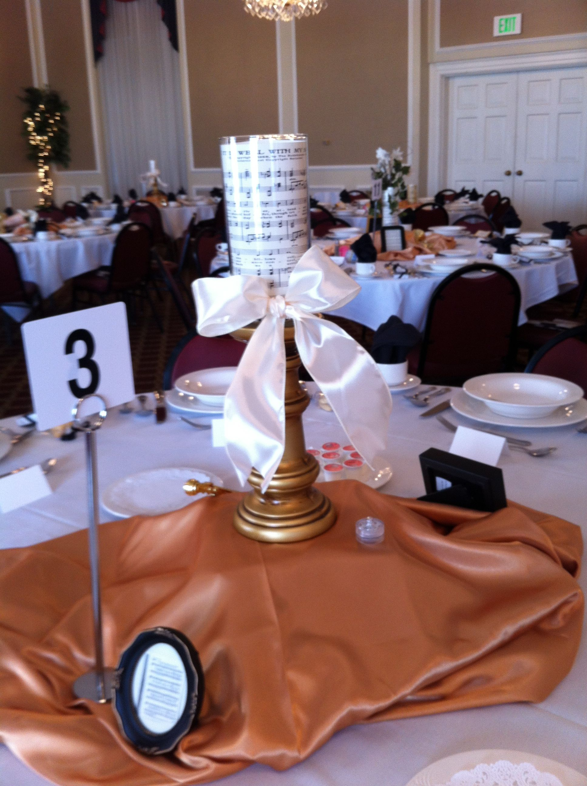 Musicthemed tablescape at the fall 2012 Women's Auxiliary