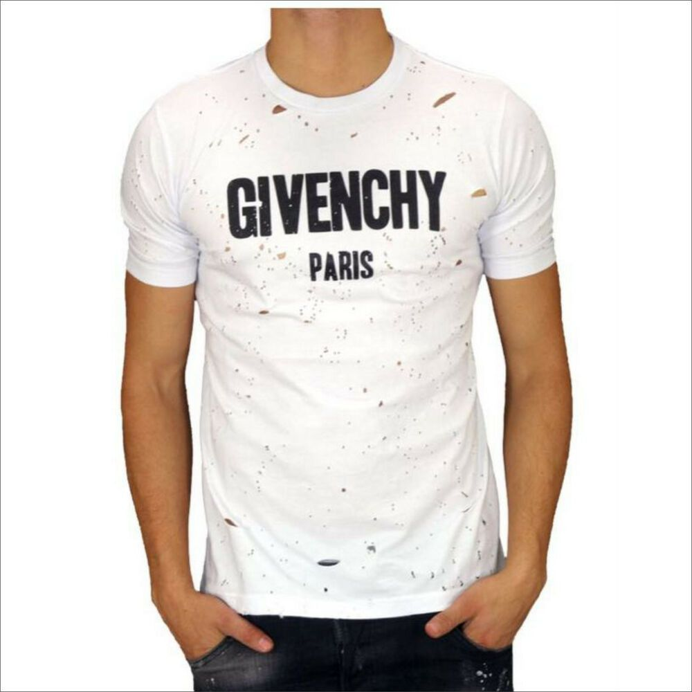 Givenchy Paris with Holes mens T shirt white size XXL