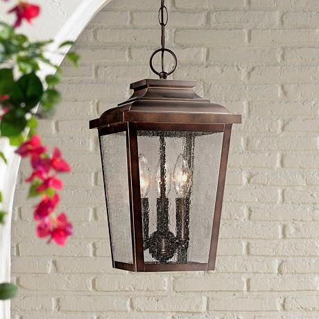 Irvington manor 15 1 2 high bronze outdoor hanging light 2n100 lamps plus