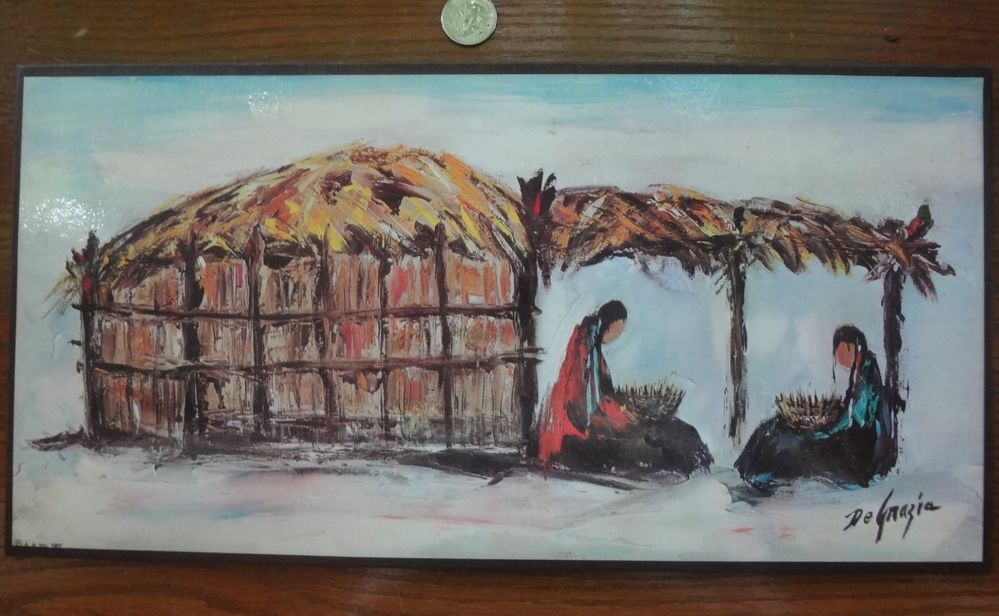 Vintage 1967 Waiting By Ettore Ted Degrazia Mounted Print