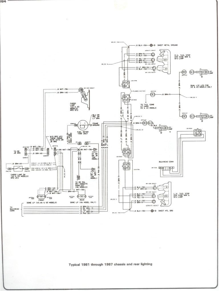81 87 Chass Rr Light On 1986 Chevy Truck Wiring Diagram