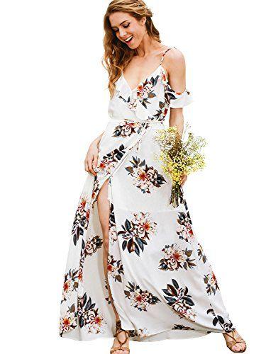 39c33401df4 Simplee Apparel Women s Strap Ruffle Cold Shoulder Floral Print Wrap Maxi Dress  Beach White