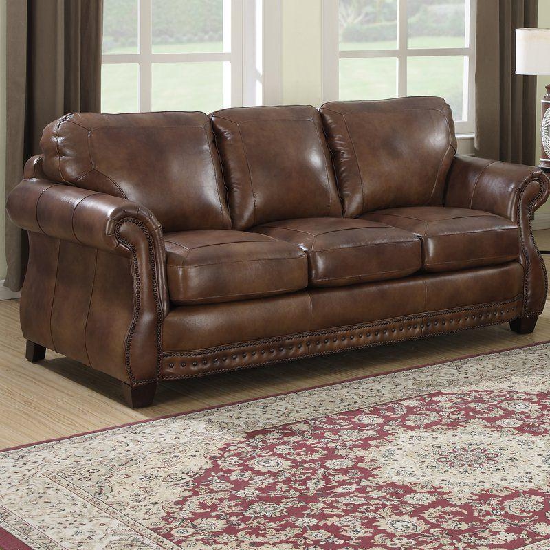 Beglin Genuine Leather 86 Round Arm Sofa In 2020 Cognac Leather Sofa Italian Leather Sofa Sofa
