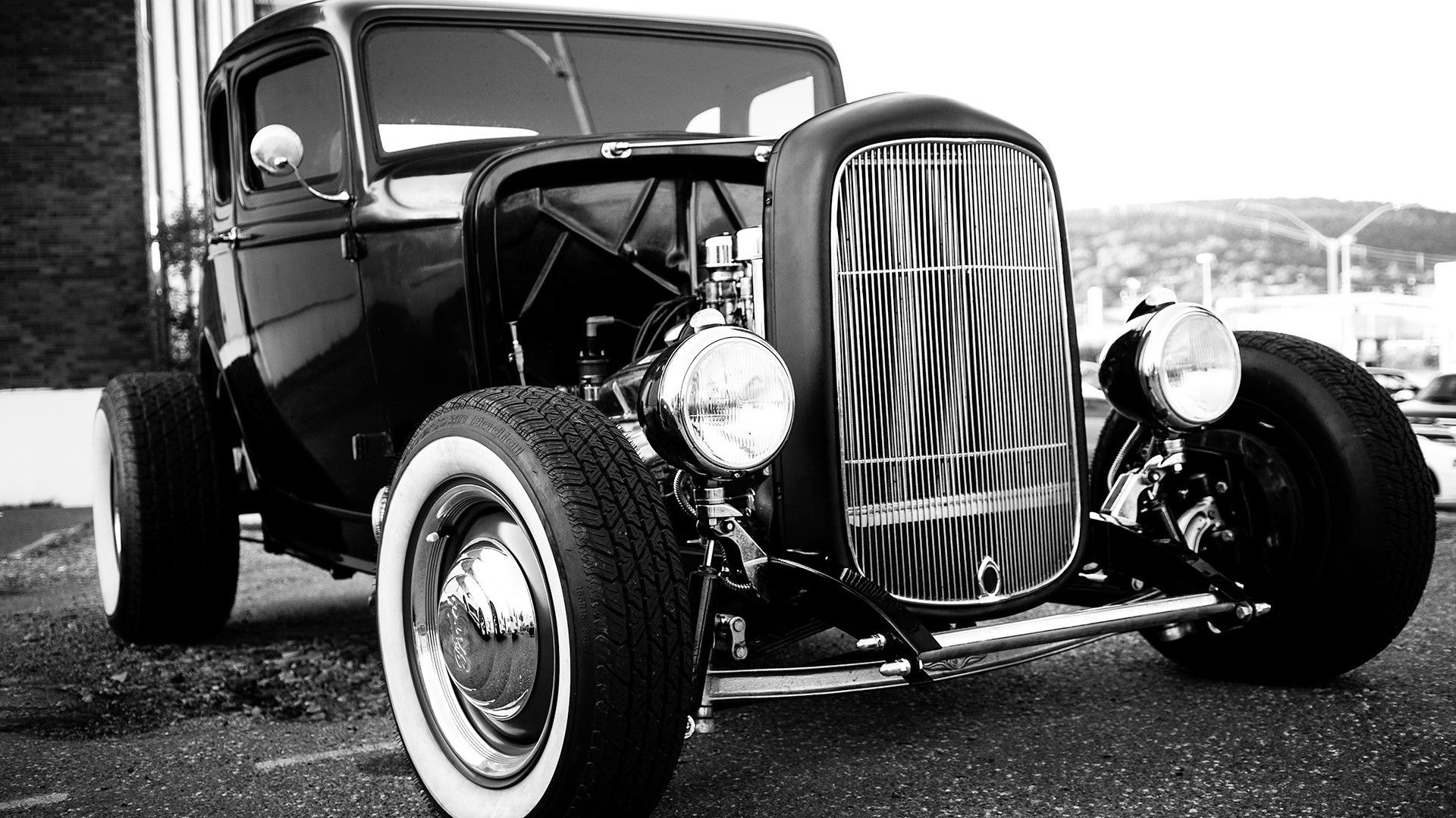 Old Cars Black And White Background Hd Wallpapers Retro