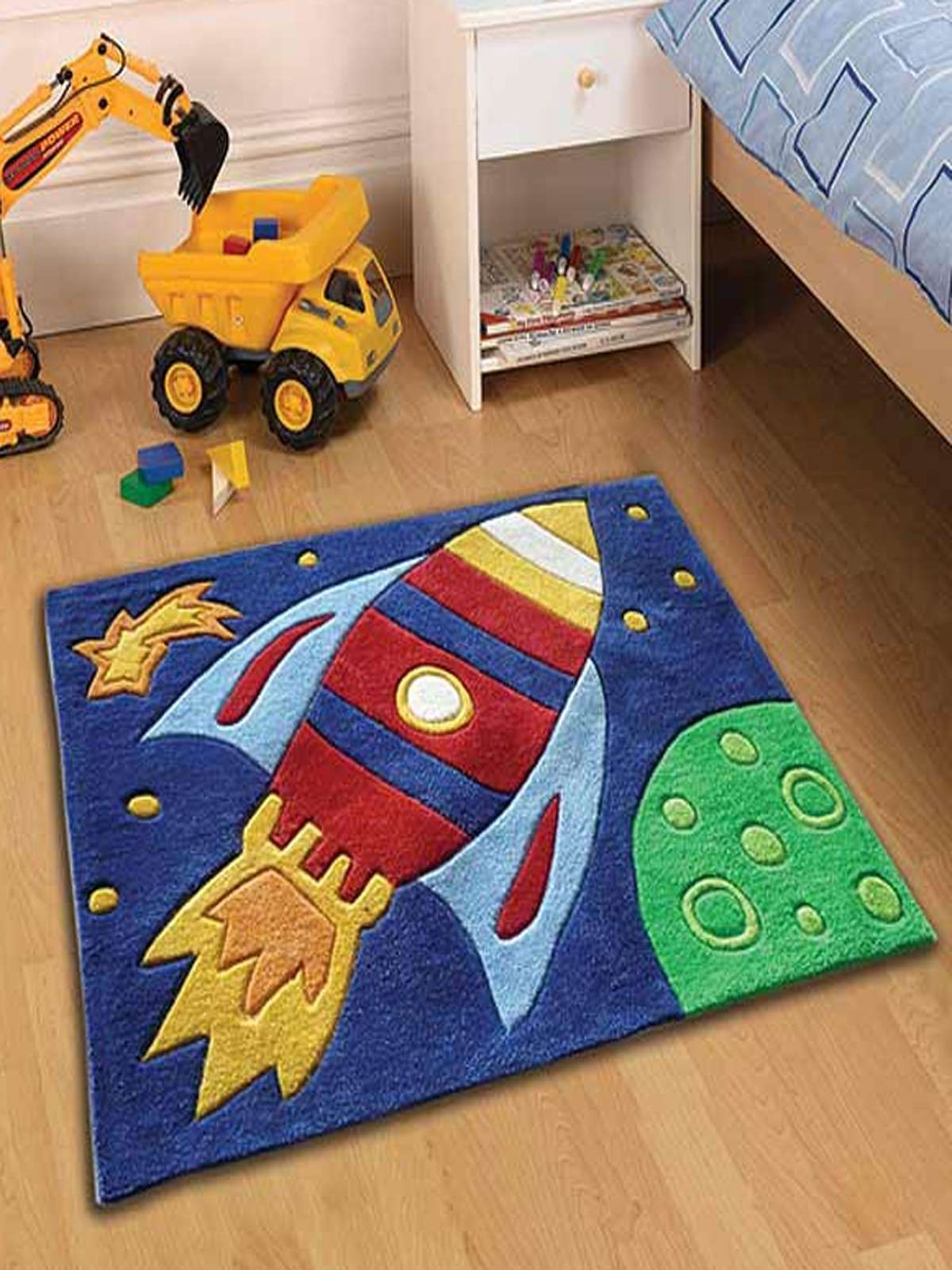 Space Rocket Bedroom Rug