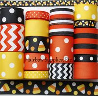 Candy Corn 16 Yard Grosgrain Ribbon Lot in Orange and Black Trick or Treat