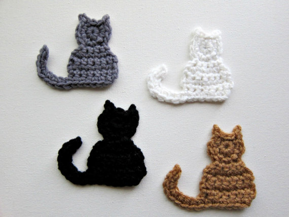 "1pc 3.5"" Crochet CAT Applique"