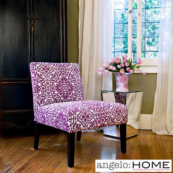 Bradstreet Modern Damask Provence Purple Upholstered Armless Chair