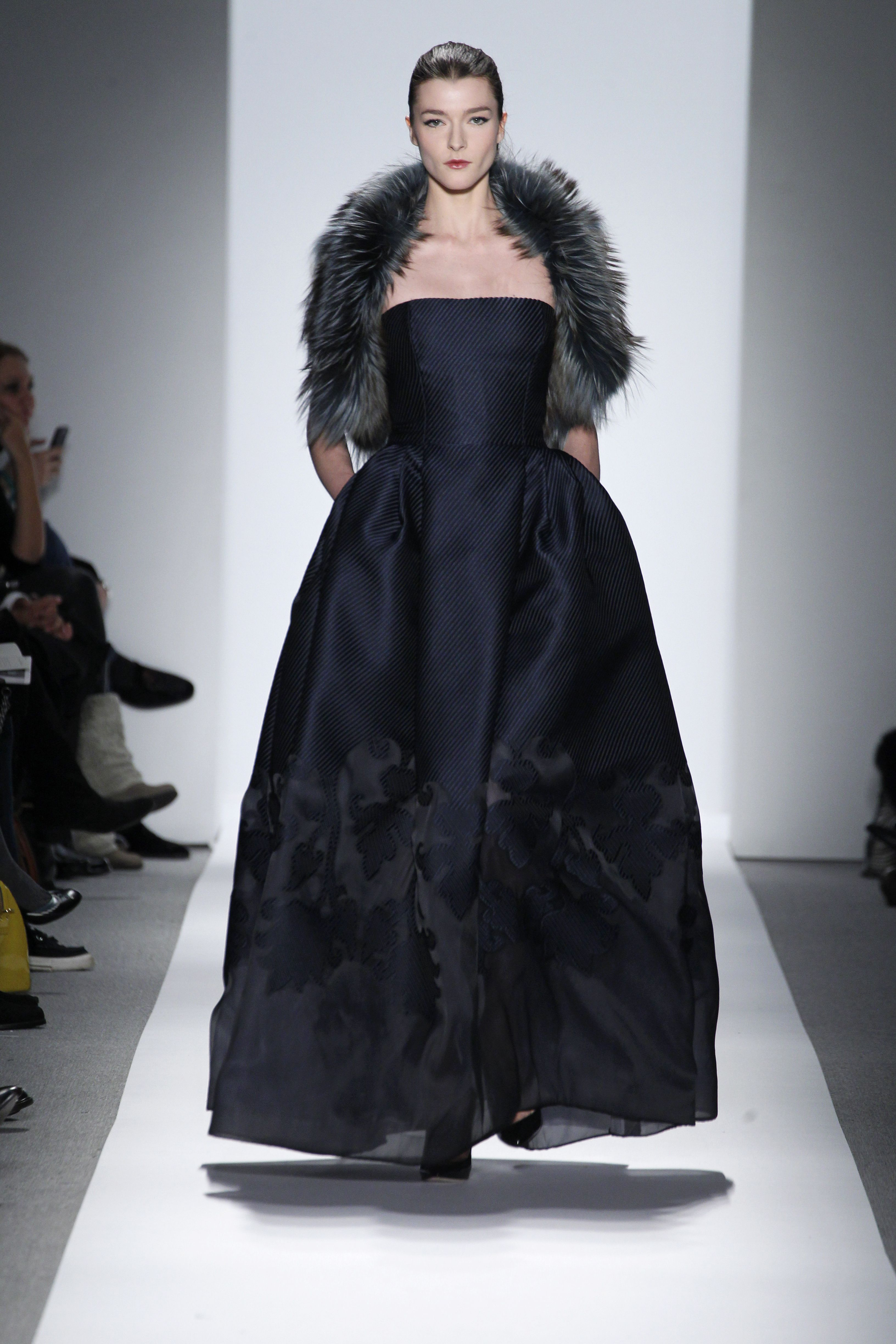 Dennis Basso Fall/Winter 2013 - Midnight ottoman and organza gown with evergreen fox and velvet shrug