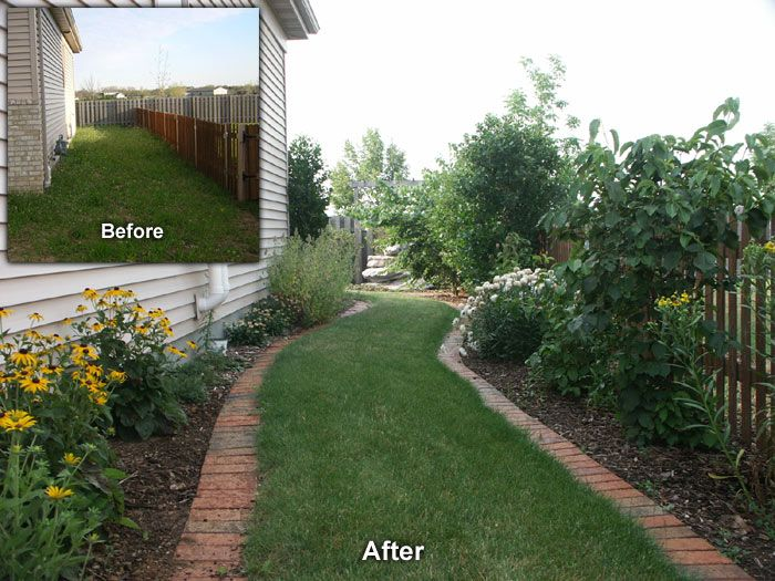 neenah side yard landscape before and after side yard side yard landscaping yard yard. Black Bedroom Furniture Sets. Home Design Ideas