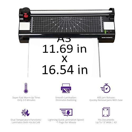 Professional 6-in-1 A3 Laminator Machine | GoGo Gadgets Heavy Duty XL Lamination Machine with 25 Laminating Sheets | for Home Office Or School Use (Black, Up to 13