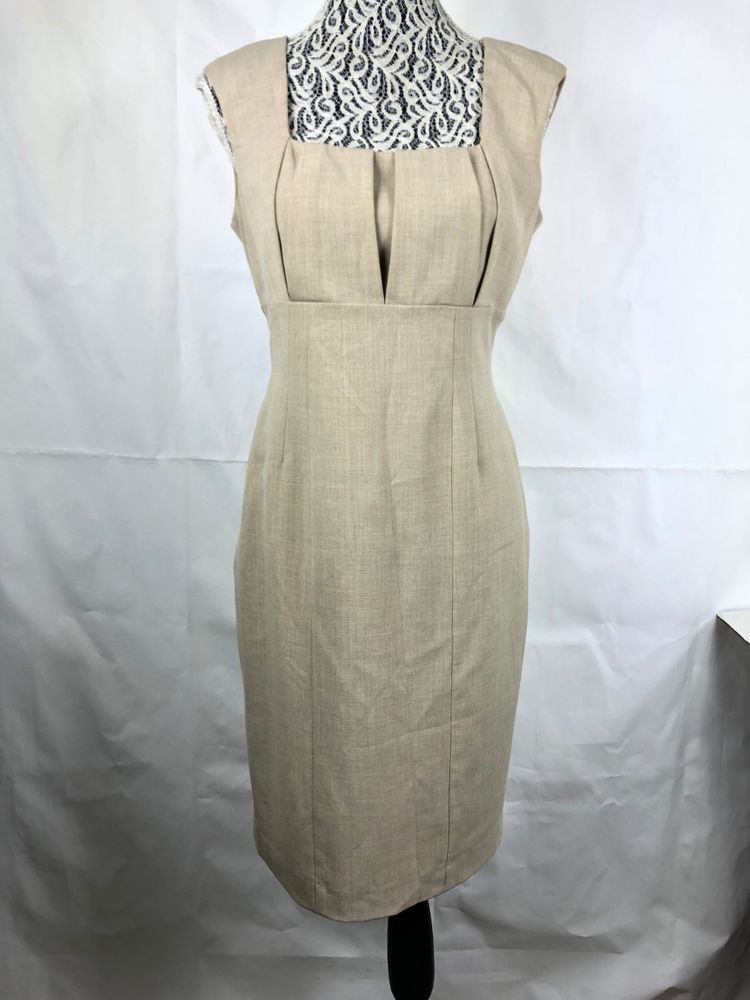 d9df72a7972 Calvin Klein woman s Sheath Dress size 8 Beige Pleated Square neck  Sleeveless 17  CalvinKlein  SheathDress  PartyCocktail