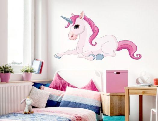 Madchenzimmer Wandtattoo Einhorn In Pinken Farben Wandaufkleber Kinderzimmer Madchenzimmer Wandtattoo