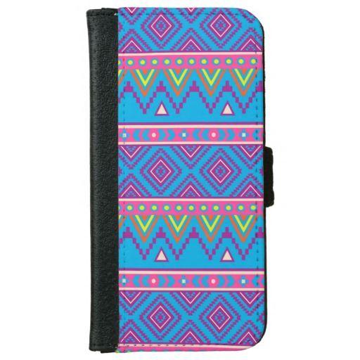 Blue Aztec Tribal Pattern iPhone 6 Wallet Case