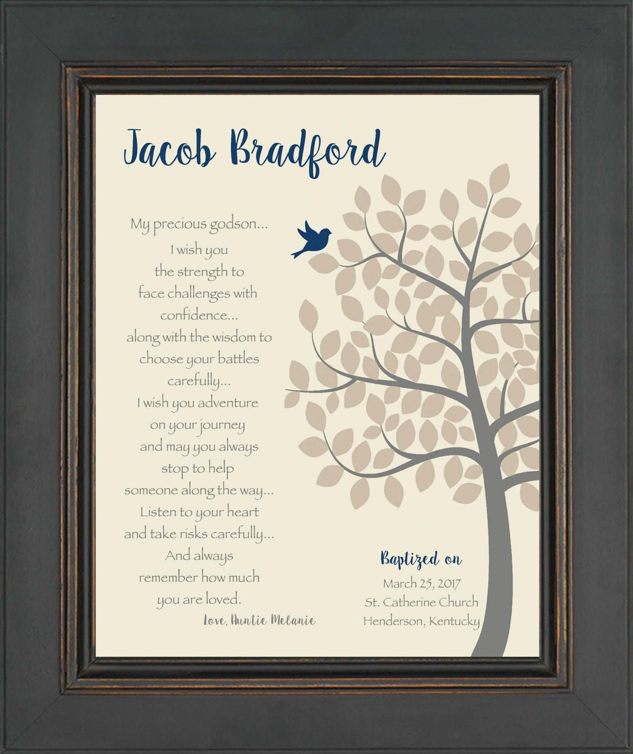 baptism gift for godchild - personalized christening or dedication