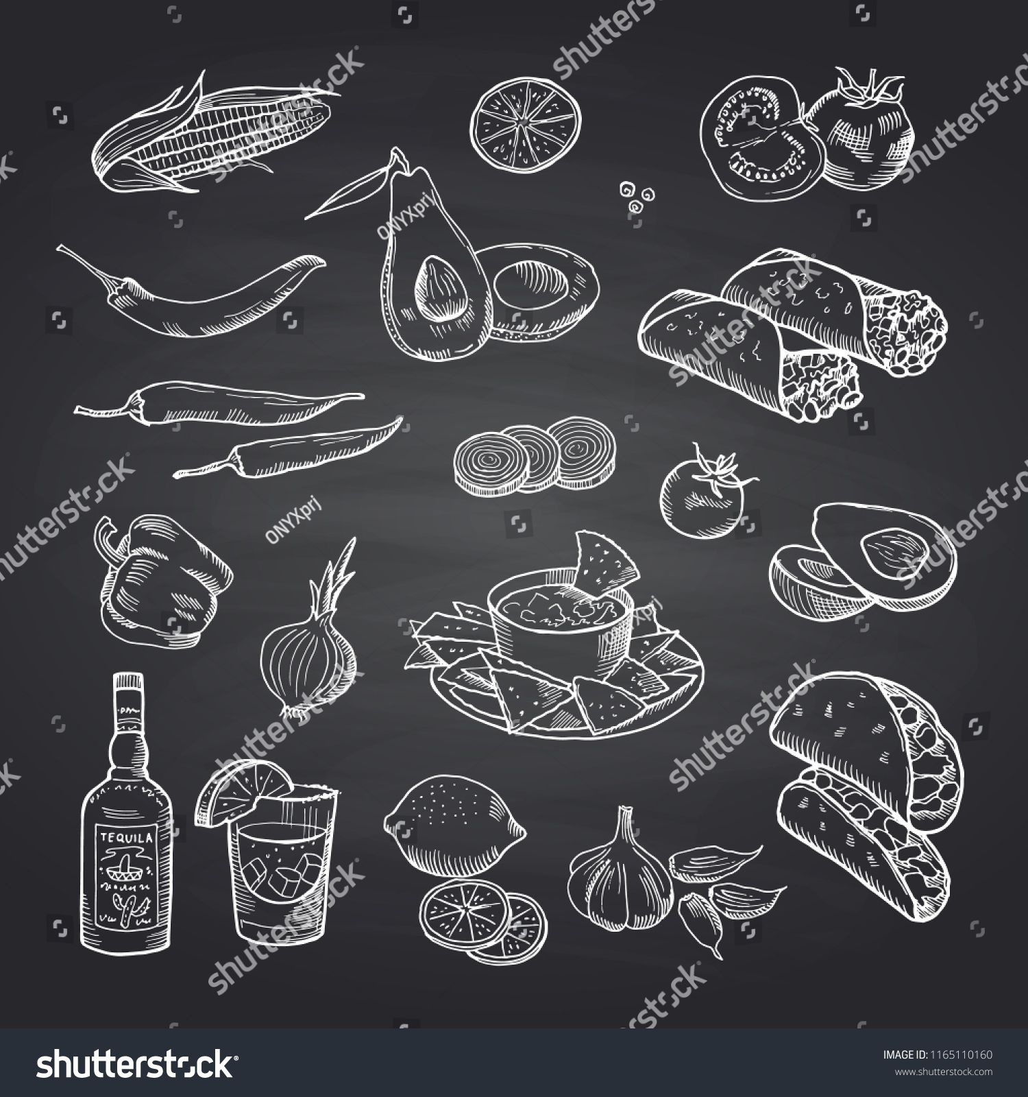 Vector Sketched Mexican Food Elements Set On Black Chalkboard Illustration Of Mexican Food Burrito And Taco Mexican Food Recipes Food Wall Art Vector Sketch