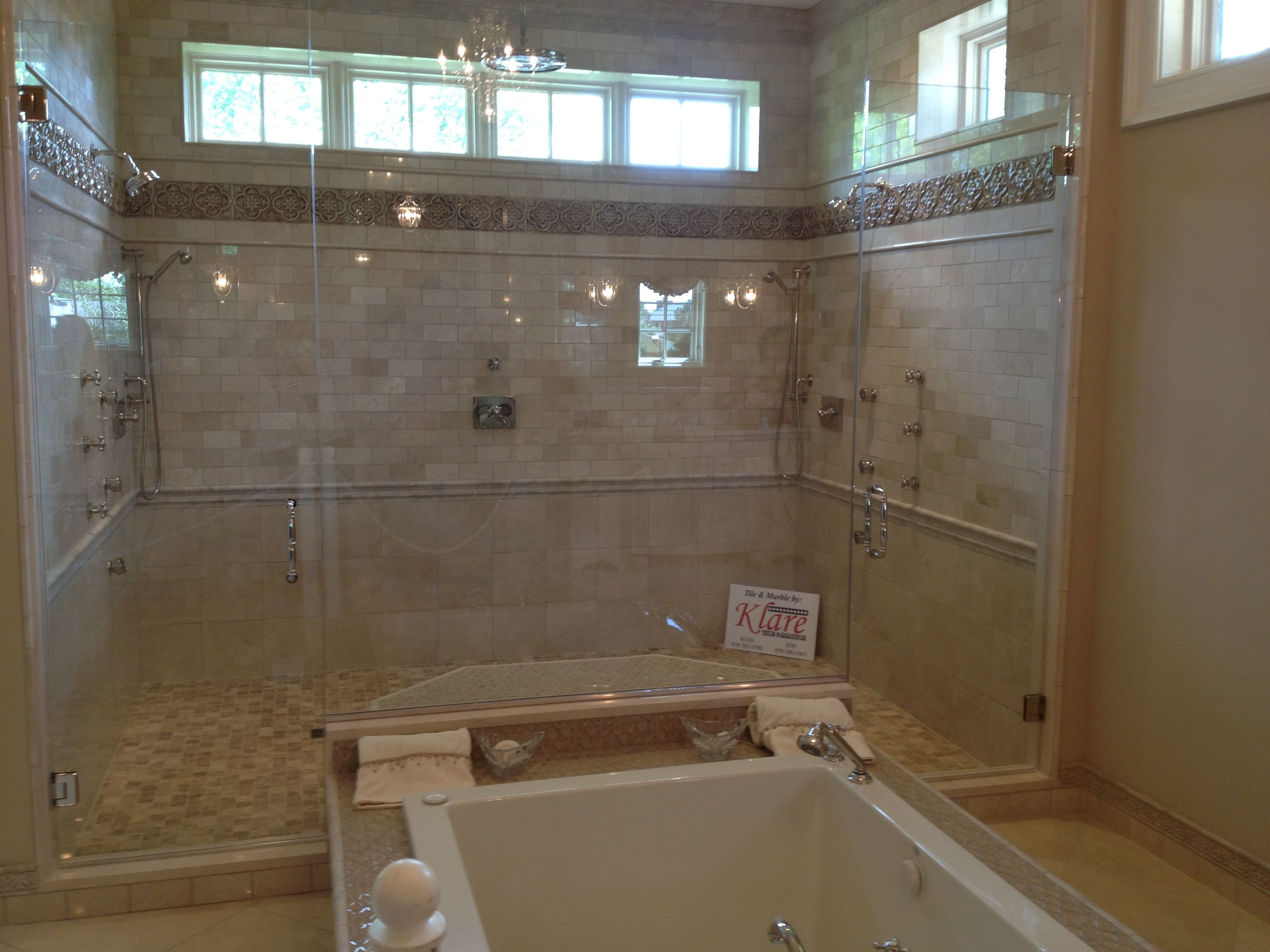 Double Shower Head Tile Hot Tub Glass For The Home