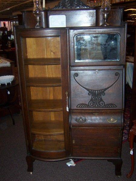 Antique Secratery Desk Oak Secretary Desk Curved Glass
