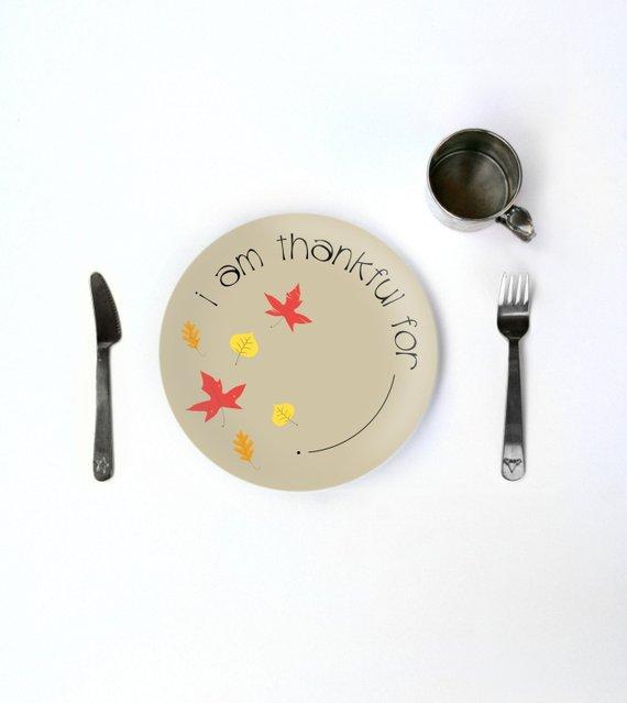 Kids Thanksgiving Thankful Plate Fall Childrens Holiday Dinnerware