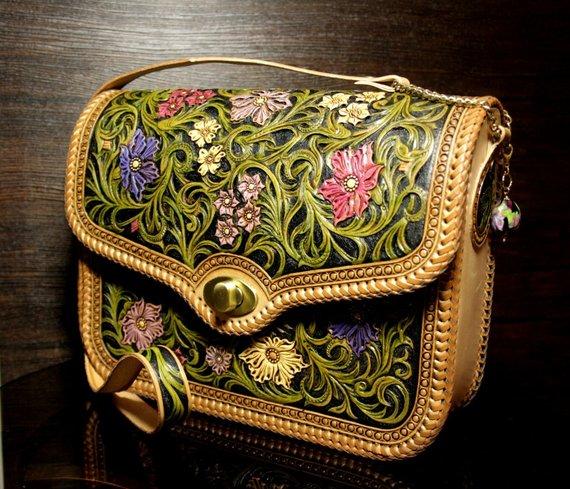 8ce00135b Hand-tooled leather bag, carved handbag, tooled purse, leather women's bag, carved  bag, sheridan ba