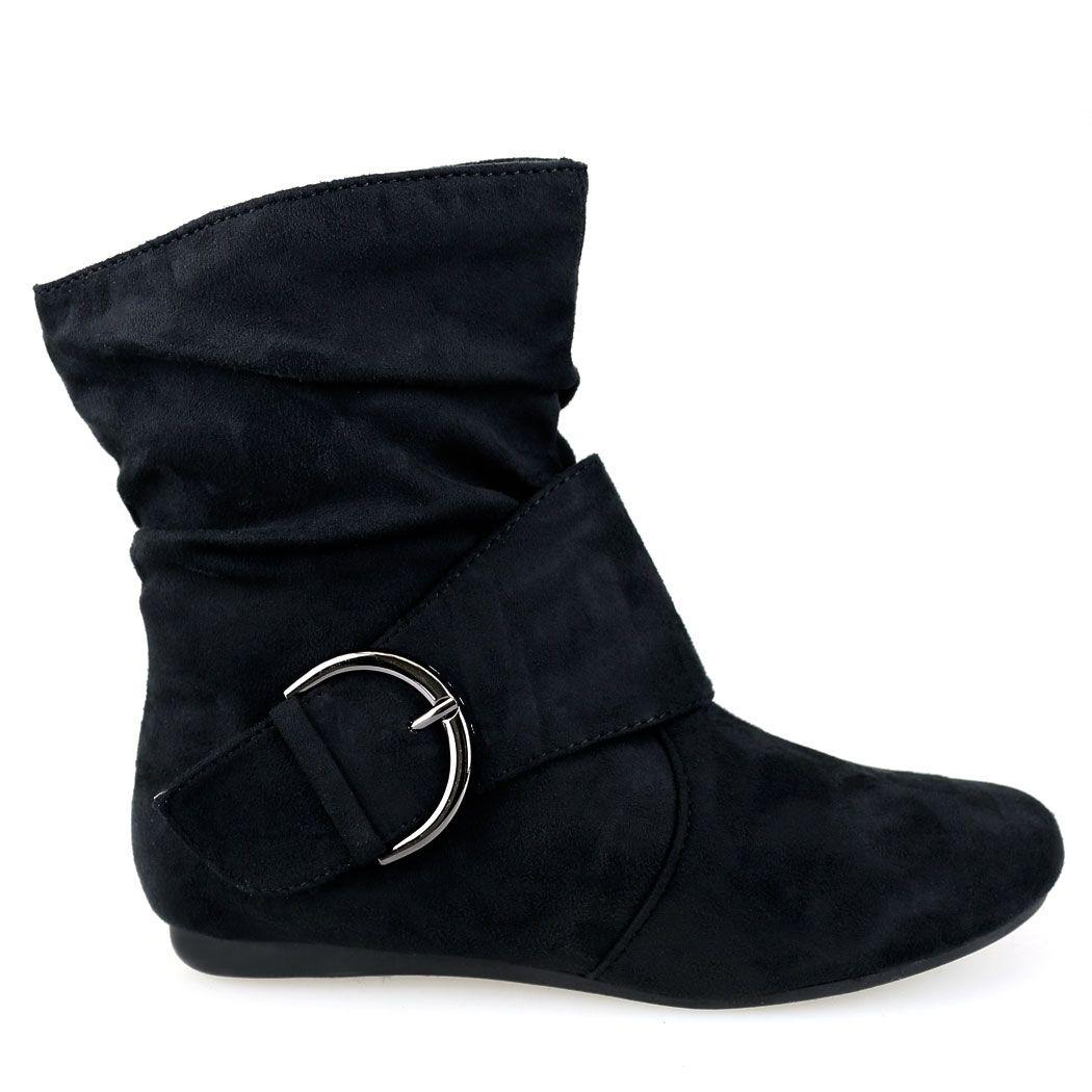 Selena-53 Black Buckle Detail Short Flat Boots