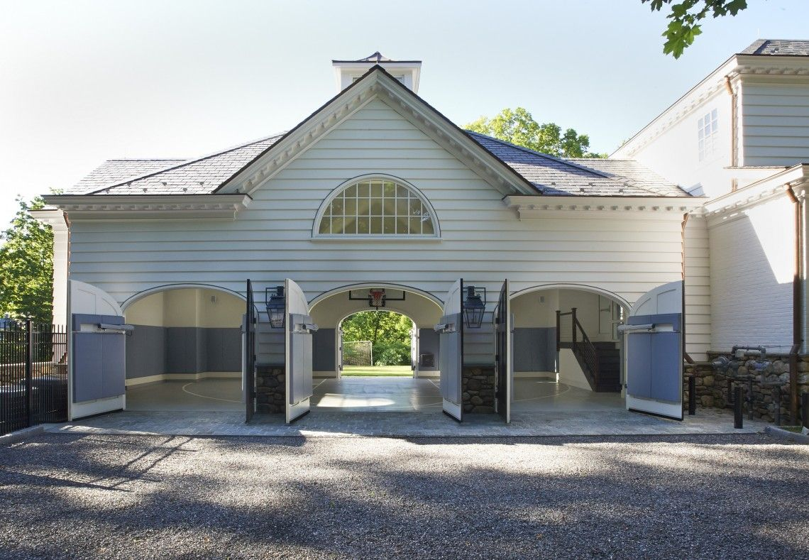 Indoor basketball garage outside view home