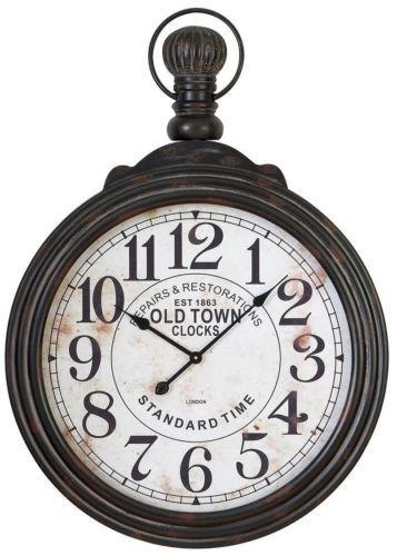 Oversize Antique Style Round Wall Clock Large Traditional Hanging Pocket Watch Ebay Oversized Wall Clock Large Wall Clock Wood Wall Clock