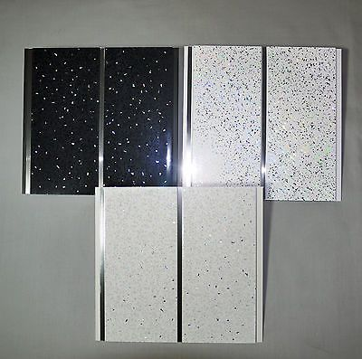 Black White Platinum Sparkle With Chrome Upvc Bathroom Shower Ceiling Panel View Mo Bathroom Wall Cladding White Bathroom Colors White Marble Bathrooms