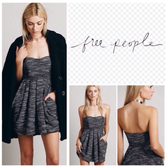 "Free People Strapless Mini Dress.  NWT. Free People Strapless Mini Dress, lined, 60% polyester, 40% cotton, machine washable, 19.5"" armpit to armpit (39"" all around), 36"" waist, 29"" length, side zip closure, pleated skirt, side slit pockets, drape detail, strapless, measurements are approx.  No PayPal...No Trades.... Free People Dresses Mini"