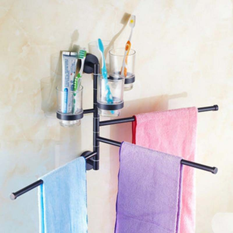 Contemporary Oil Rubbed Bronze Shower Bathroom Towel Bar Rack With ...
