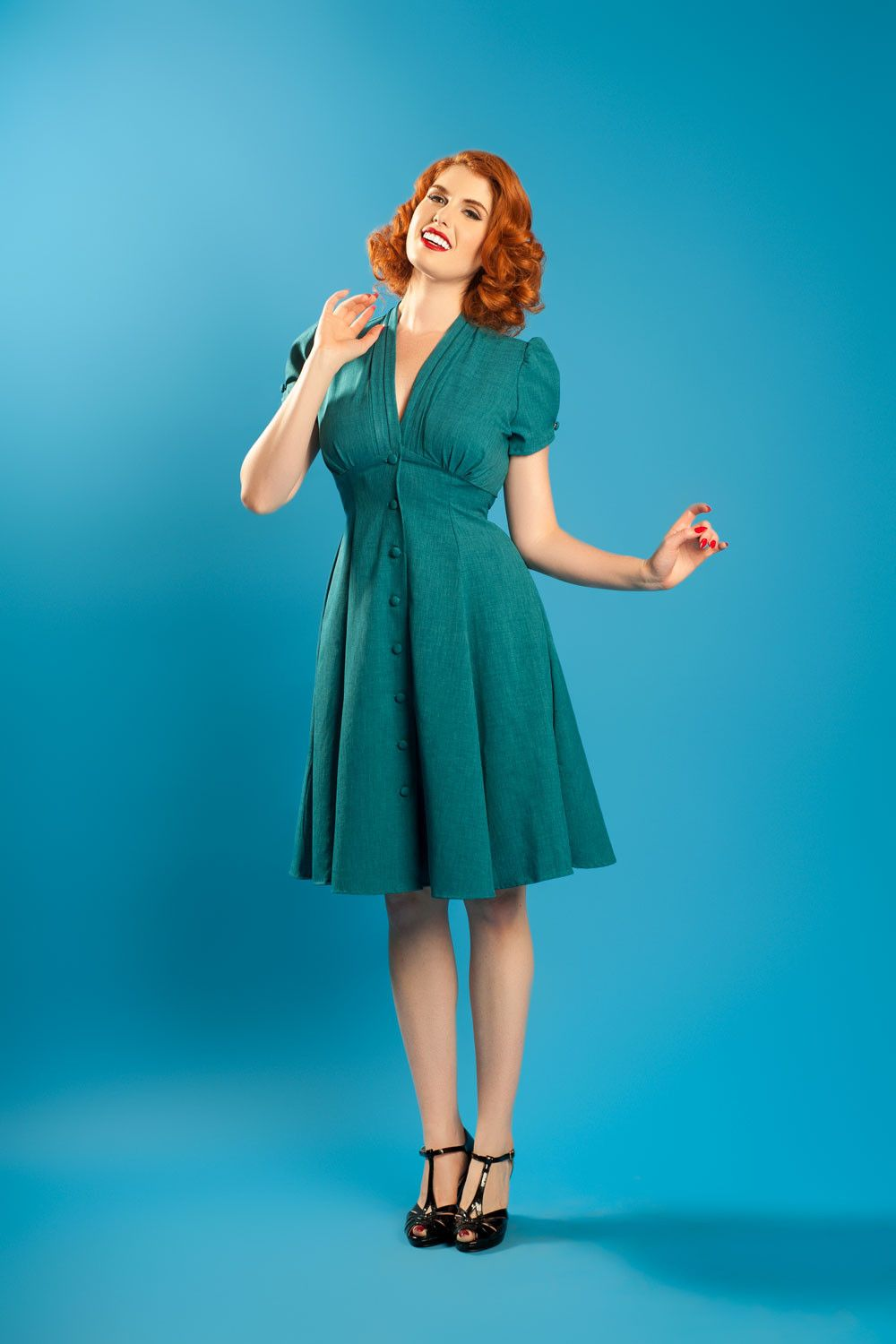 Haute Of Heart Manhattan 1940 S Style Dress In Teal 1940s Fashion Dresses Manhattan Dress Pinup Girl Clothing