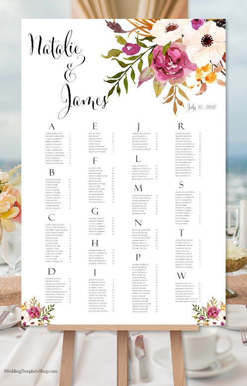 Wedding Seating Chart Poster Watercolor Floral 2 Print Ready Digital File Seating Chart Wedding Diy Seating Chart Wedding Seating Chart Wedding Template