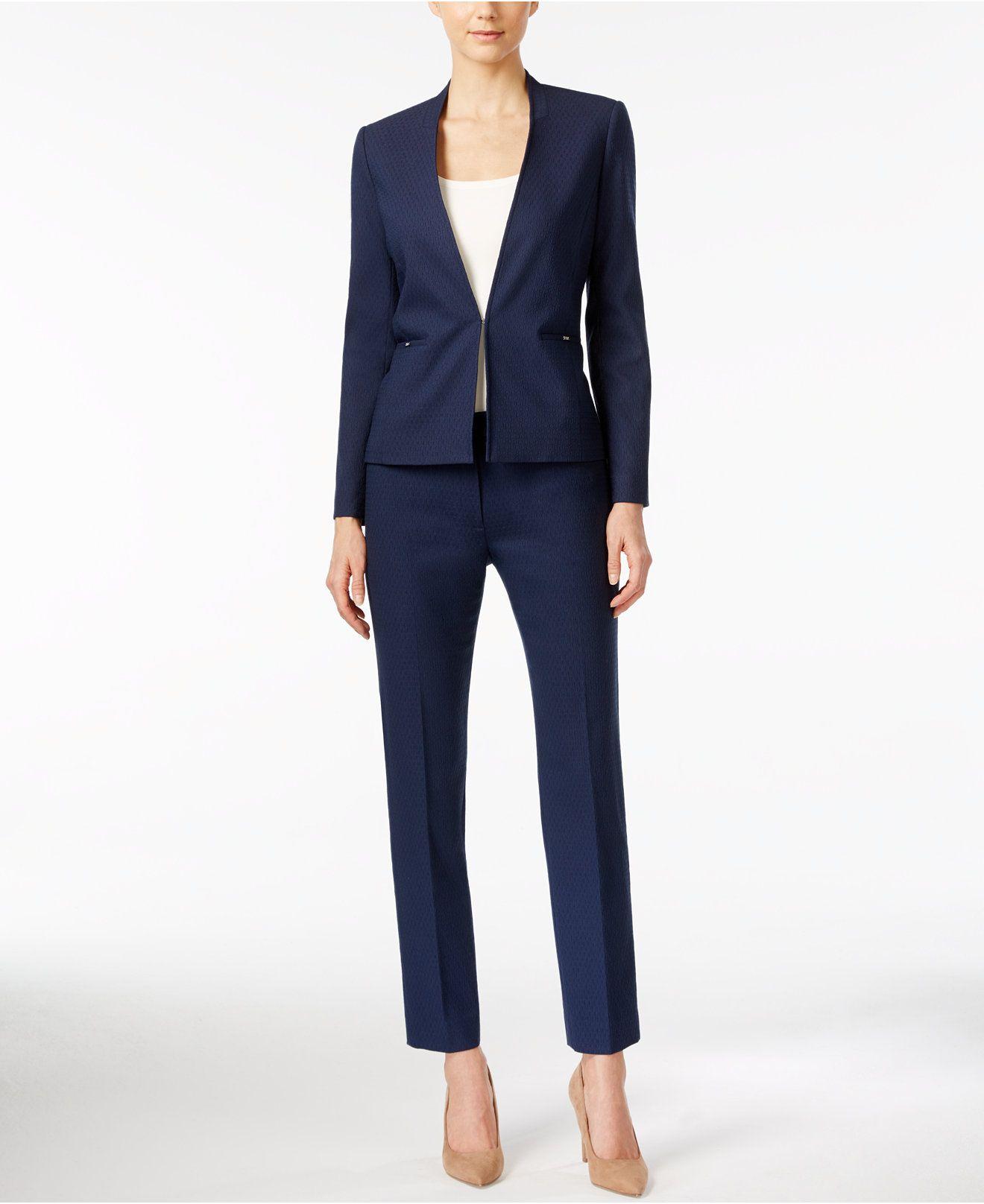 Tahari ASL Textured Jacquard Collarless Blazer & Trousers - Wear ...