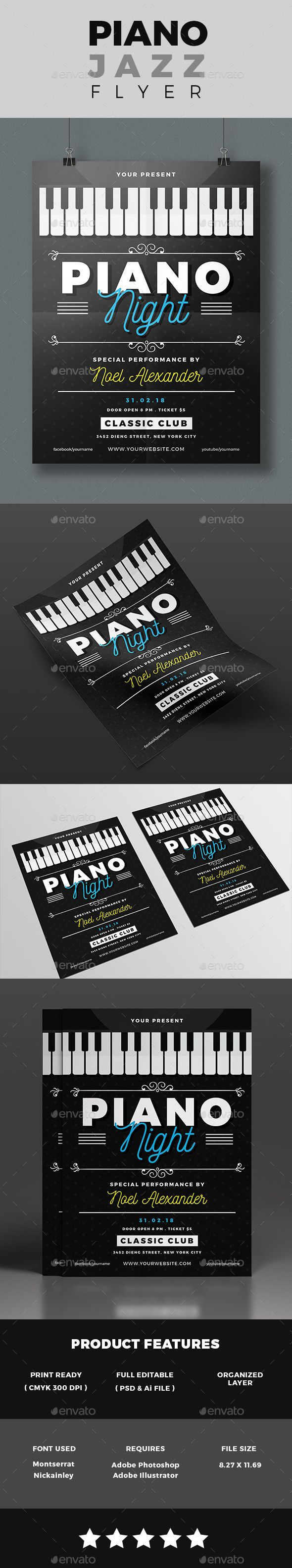 Piano Night Show Flyer By RizkiWildanii SPECIFICATIONSAi CS 6 3 Psd Files Dimensions 827x1169 In Size With Bleeds A4 Resolution 300 Dpi