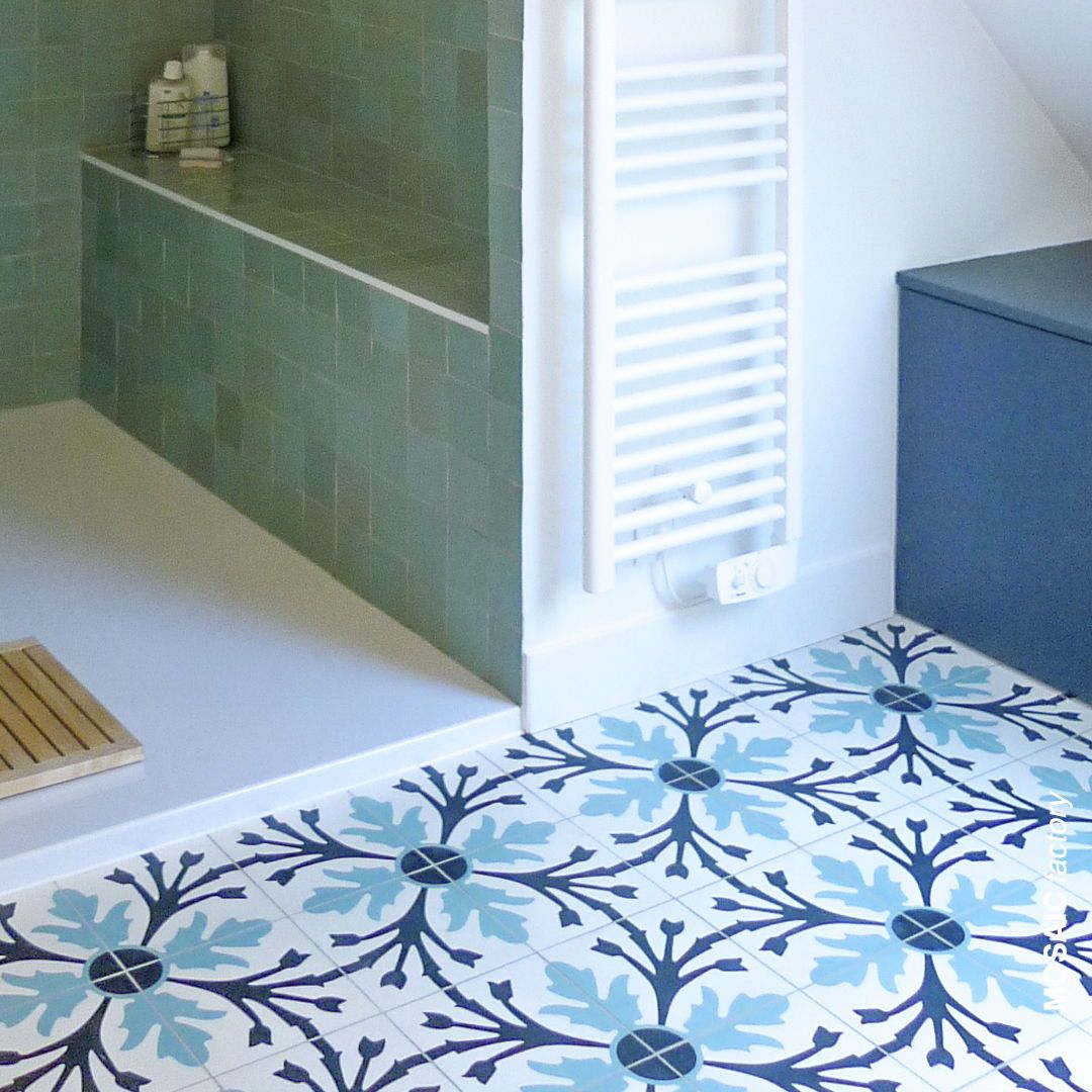 White And Blue Bathroom Floor With Patterned Cement Tiles From Mosaic Factory And Green Zellige Tiles Colour In Wall And Floor Tiles Cement Tile Terrazzo Tile