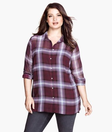 5e237b39c81 Plaid chiffon blouse from H M plus. Would look cute with jeans or a black  skirt. Only  15!