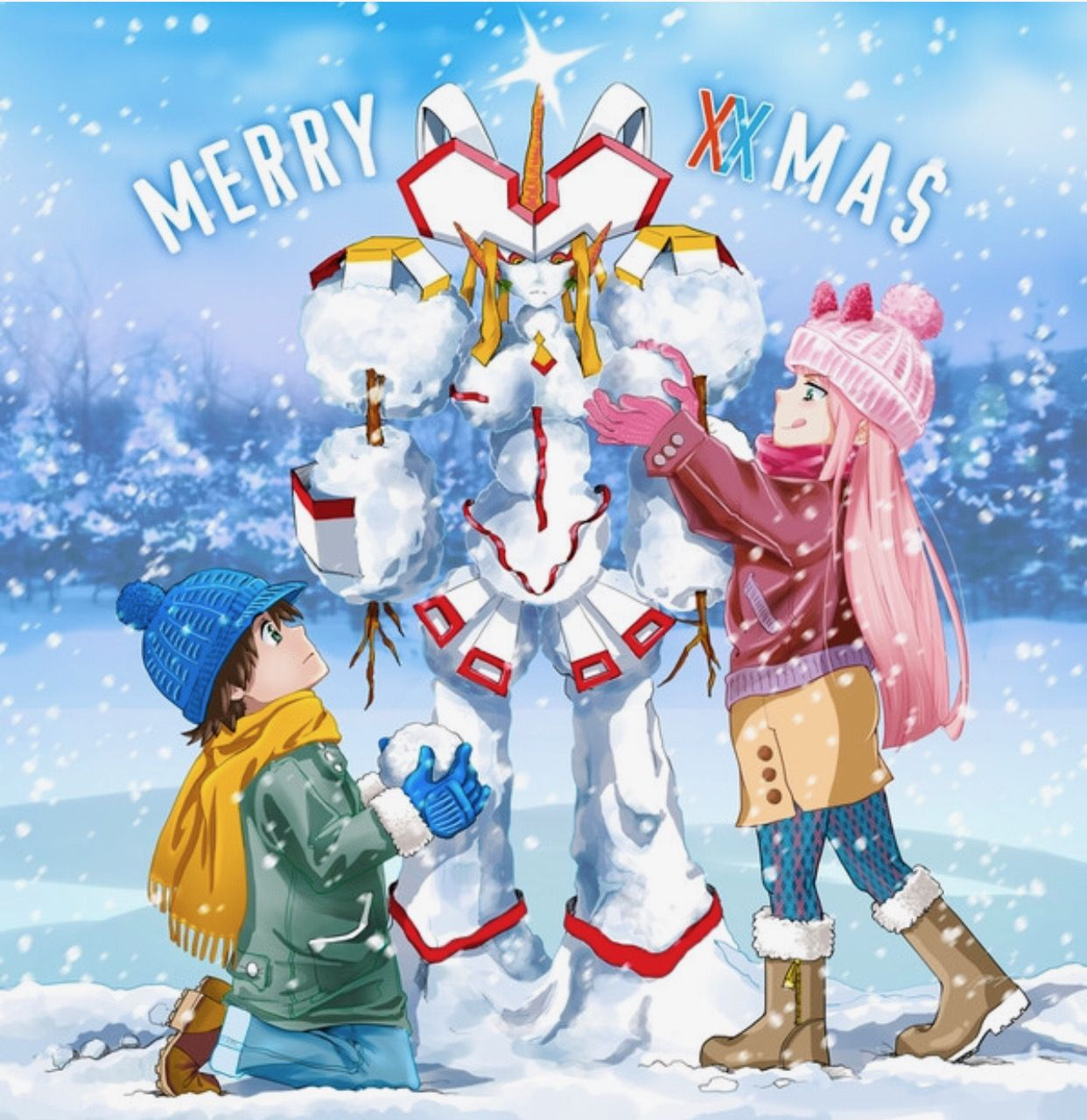 Merry Christmas To All Hiro X Zero Two Fan Anime Anime Christmas Darling In The Franxx