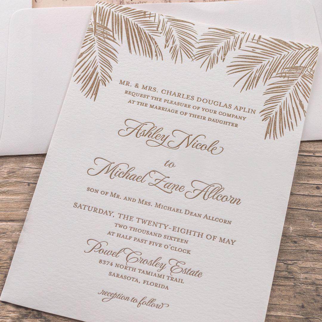 Florida Inspired Letterpress Wedding Invitations Palms Design