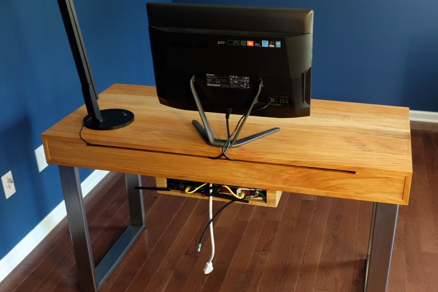 Diy Modern Computer Desk With Integrated Cable Management Cavities In The Back Hold A Power Strip And Cables A Remova Modern Computer Desk Desk Computer Desk