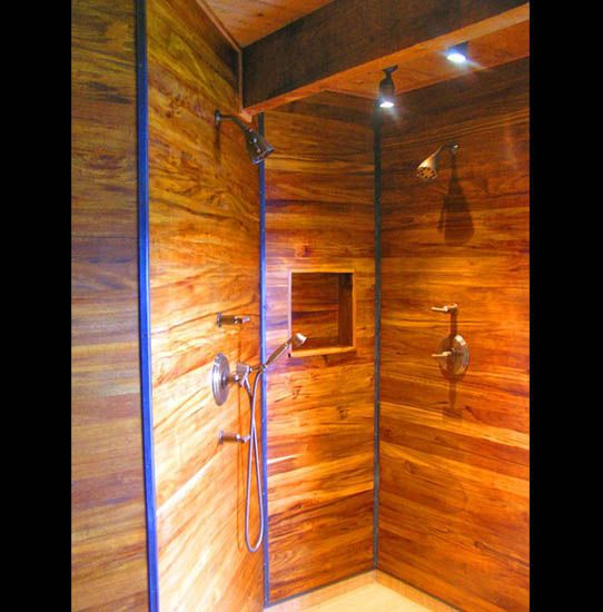 teak wood shower shown here in hi