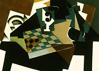 Juan Gris, Tablero de Ajedrez, 1917 - I love how well the dark hues go with each other against the white areas.