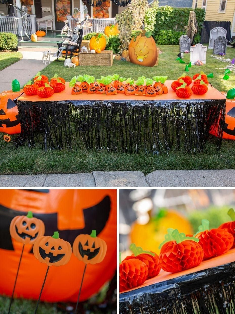 Halloween Trick Or Treat Driveway Table Ideas Fun365 Halloween Hacks Halloween Candy Table Halloween Outdoor Decorations