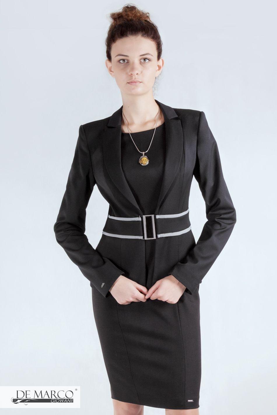 457a09146a Zestaw biznesowy. Czarna sukienka taliowana. Doskonale profiluje figurę