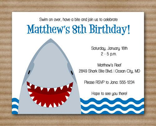 shark invitation shark party invitation shark birthday invitation