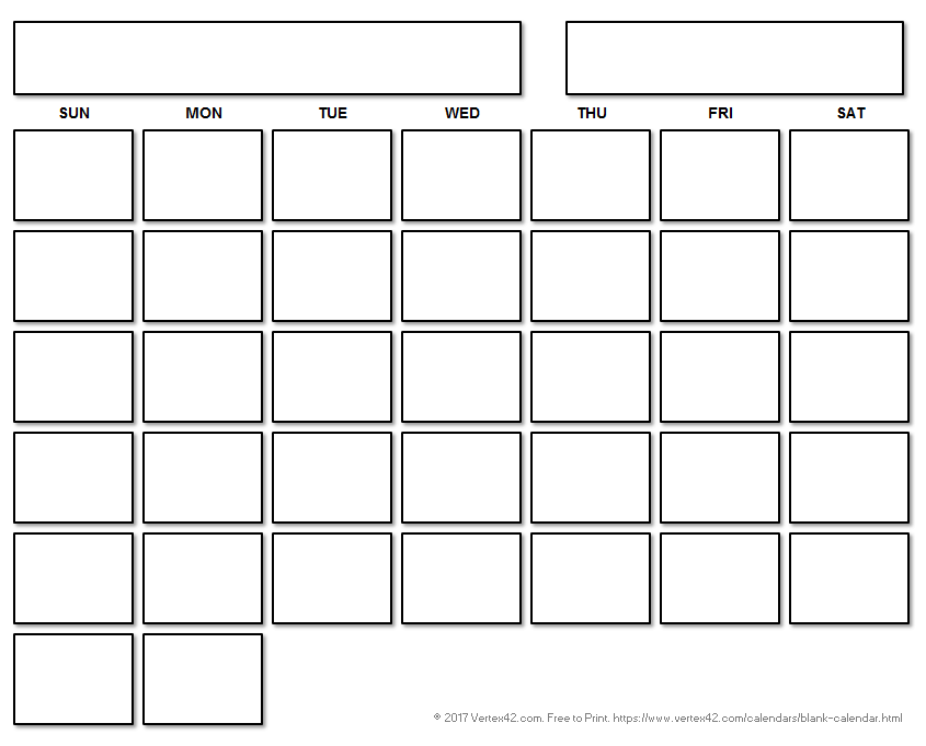 Printable Blank Calendar With A Floating Grid  Printables