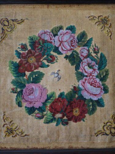 Superbe-perle-tableau-perles-oiseaux-roses-broderie-Old-bead-embroidery-bird-XIX